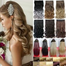 """Luxury One Piece 17-30"""" Clip In 3/4 Full Head Hair Extensions Ombre 5 Clips Hair"""