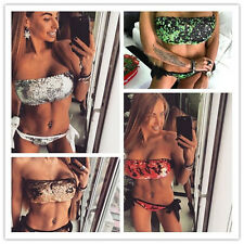 Womens Lady Wrap Chest Push-up Sequins Swimsuit Beach Padded  Bandeau Bikini Set