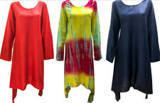 PLUS SIZE HIPPIE BOHO HANDKERCHIEF HEM EMBROIDERED SCOOP NECKLINE TUNIC DRESS