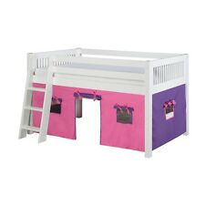 Camaflexi Low Loft Playhouse Bed, Mission Headboard- White Finish - C413P-WH