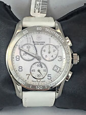 Ladies 241418 Victorinox Swiss Army White Leather MOP Chronograph Dial Watch