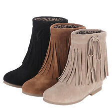 Shoes Moccasins Internal Wedges Womens Rounded Toe Boots AU sz 4 5 6 7 8 9 10