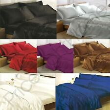 SATIN BEDDING - DUVET COVER + PILLOWCASES + FITTED SHEET - 4 / 6 PIECE SETS