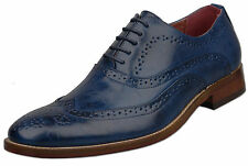 Mens New Blue Leather Lined Lace Up Fashion Brogue Shoes Size 6 7 8 9 10 11 12