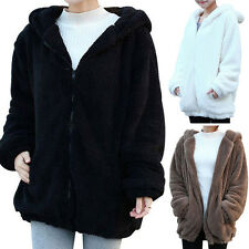 Lady Women Winter Loose ~Cute Bear Ear Hoodie Hooded Jacket Warm Outerwear Coat