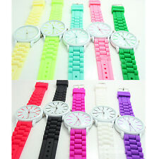 Sports Womens Birthday Gift Silicone Analog Plastic Jelly Watch Unisex