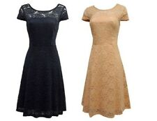 New Retro 1930's 40's WW2 Wartime Navy or Nude all Lace Swing Tea dress UK 8-22