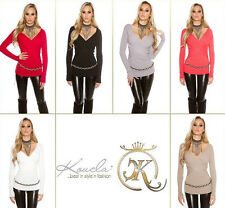 New Trendy Koucla Pullover Wrap look Jumper Sweater Knitted striped Ladies! 8944