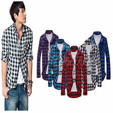 Mens Plaid Check Casual Shirts Tops Long Sleeve Classic Casual Slim T-Shirt Size