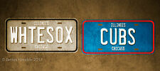 Illinois Chicago Cubs White Sox Baseball  License Plate Vanity Auto Tag Aluminum