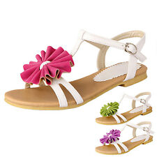 kala womens T Strap Flower Flats Thongs Casual vintage Daisy Summer Sandals Size