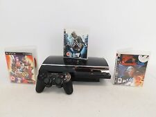 Sony PlayStation 3 PS3 Console Black Bundle With Games Assassins Creed  - G20