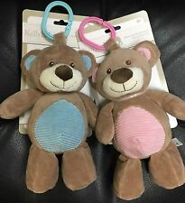 """NWT KELLYBABY 10"""" CUDDLE BEAR BABY PRAM TOY W/RATTLE YOUR CHOICE PINK OR BLUE"""
