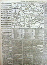 1862 Civil War newspaper w MAP of KENTUCKY & TENNESSEE Battle of Mill Springs KY