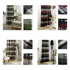 Chezmoi Collection Payton Traditional Plaid Grommet Top Window Curtain Panel