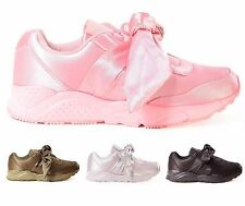 New Womens Satin Bow Pumps Casual Slip On Celebrity Fashion Trainer Shoes