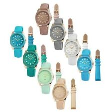 Wrist Watch Ladies Changeable Strap Leather Imitation Bracelet Silicone Analogue
