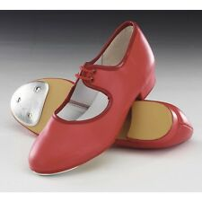 Ruby Red Low Heel PU Tap Dance Shoes With Toe Taps