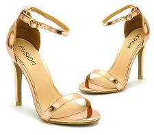 WOMENS LADIES OPEN TOE ROSE GOLD HIGH HEELS STRAPPY SANDALS SHOES SIZE 3-8 UK