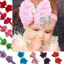 Infant baby Girls Lace Flower Pearls Headband Hair Bow Band Accessories Headwear