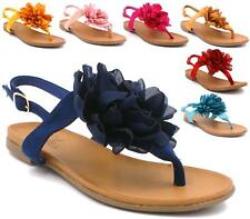 WOMENS FLATS TOE POST STRAPPY FLOWER LADIES SUMMER SANDALS BEACH SHOES SIZE 3-8