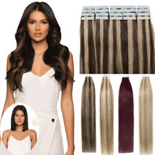 Tape in 100% Remy Human Hair Extensions Brown 40/60PCS Full Head 100G/150G YA4