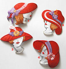 Red Hat Lady Fabric Appliques w Metallic Stitching / 4 Designs to Sew or Iron-on