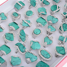 5/10/15/20pcs Wholesale Lots Mixed Women Turquoise Rings Classic Jewelry Gift