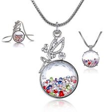 Fashion Crystal Glass Angel Pendant Necklace Chain Women Lady Jewelry Gift Party