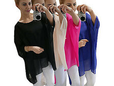 Womens Ladies Baggy Oversized Batwing Sleeve T Shirts Classic Tops Loose Blouse
