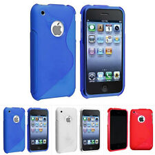 For Apple iPhone 3G 3GS colorful S Line Flexible TPU Case Skin Cover Accessory