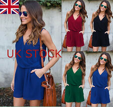 Womens Chiffon Sleeveless Jumpsuit Ladies V Neck Romper Casual Beach Playsuit