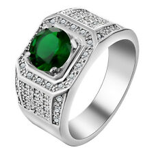 18kt white Gold Filled green Sapphire CZ Wedding Engagement PARTY Ring Size 7-10