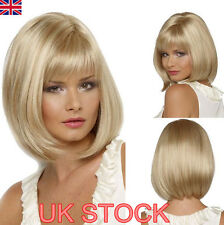 UK Womens Short Bob Style Wigs Cosplay Comic Hair Party Light Blonde  Hairpieces