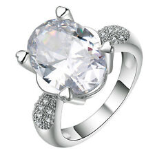 18kt white Gold filled clear gemstone CZ Wedding Engagement Ring Size 7-10