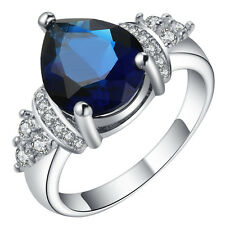 18kt white Gold filled shine royal blue gemstone CZ Wedding Engagement Ring