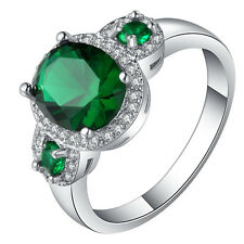 luxury green gems CZ Wedding Engagement  18kt white Gold filled  Ring Size 7-10