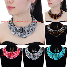 Fashion Gold Chain Resin Choker Chunky Statement Pendant Bib Necklace Earrings
