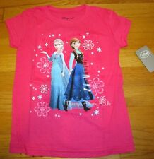 NEW Disney Store Authentic Frozen Elsa and Anna Girls Tee T-Shirt Top Size 5/6