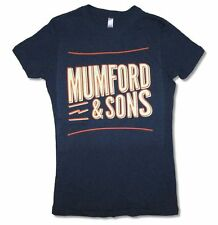 Mumford & Sons Retro Logo Girls Juniors Navy Blue T Shirt New Official