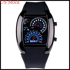 US Men's Chic RPM Turbo Blue LED Flash Sports Car Meter Dial Sports Wrist Watch