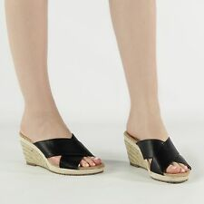 LIME BAY Ladies Womens Cross Over Strap Wedge Heeled Summer Sandals  Black