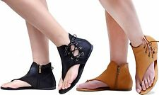 New Women Bblis Black Tan Gladiator Strappy Thong Flat Sandals size 6 to 11