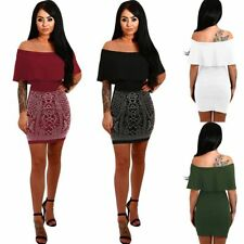 Off Shoulder Women Drilling  Sexy Bodycon Ruffles Mini Dress Party Cocktail Club