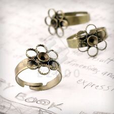 5/10pcs Flower Ring Mountings DIY Engagement Settings Antique Brass All Sizes