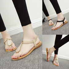 Women Summer Roman Style Flat Heel Shoes Comfortable Soft Bottom Charm Sandals
