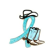 Light Blue Ribbon Pin Cancer Awareness Glitter Cowboy Western Boots Hat Causes