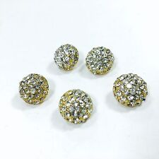 Vintage Buttons Lot of 5 Rhinestone Metal Gold Shank