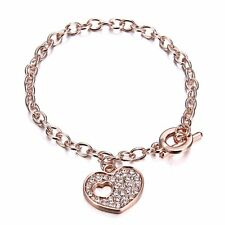 Dangle Heart Love Crystal Bracelet Bangle Chain Women Family Friendship Jewelry