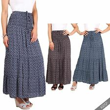 Womens Ladies Floral Tiered Boho Gypsy Pleated Summer Long Maxi Skirt Festival
